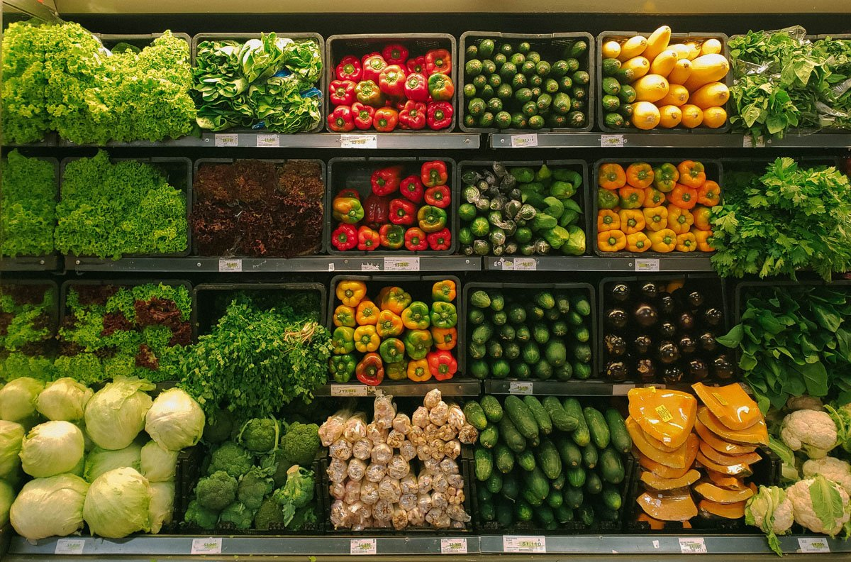 Vegetable Refrigeration Cooler in a Supermarket